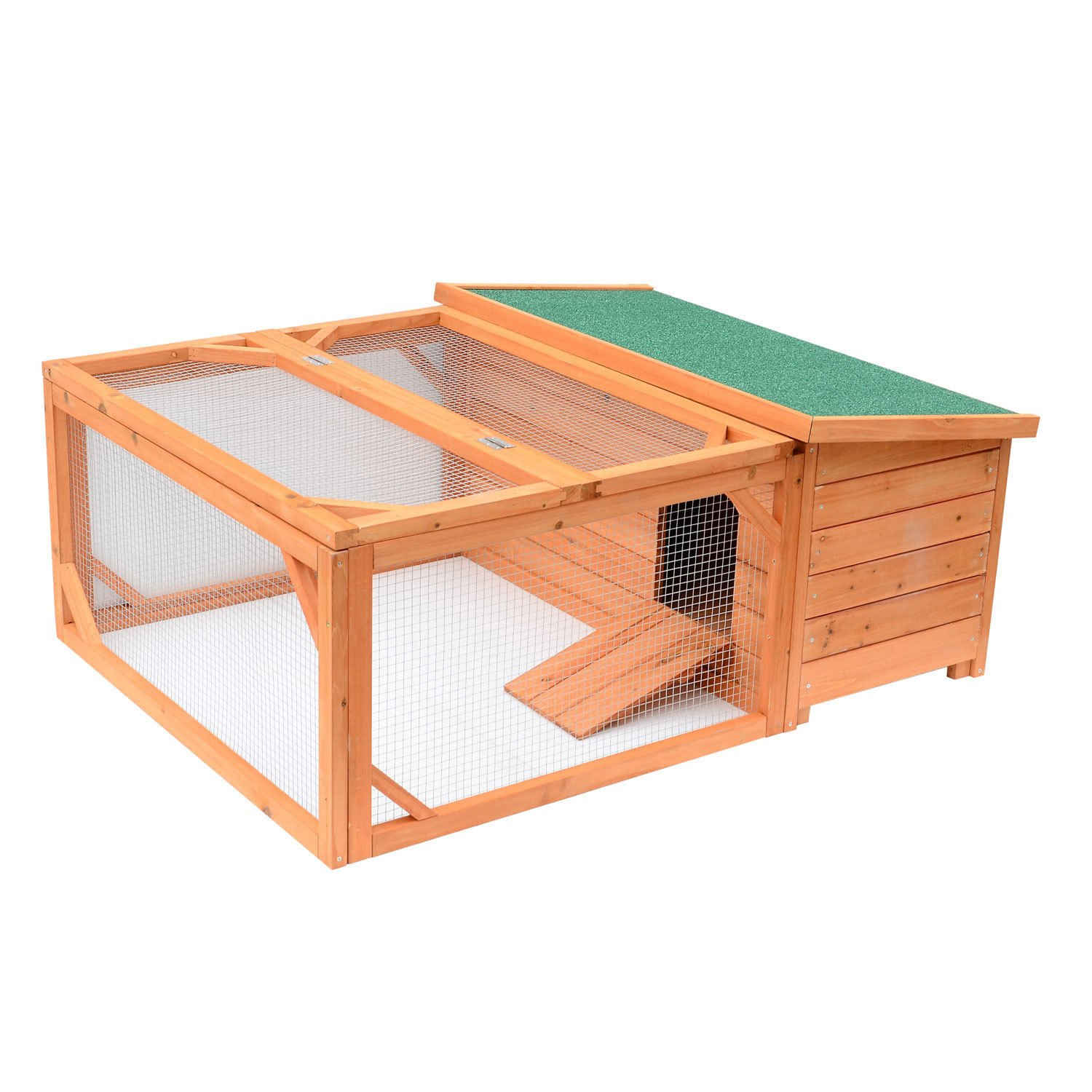 Pawhut Small Wooden Bunny Rabbit & Guinea Pig / Chicken Coop w/ Outdoor Run