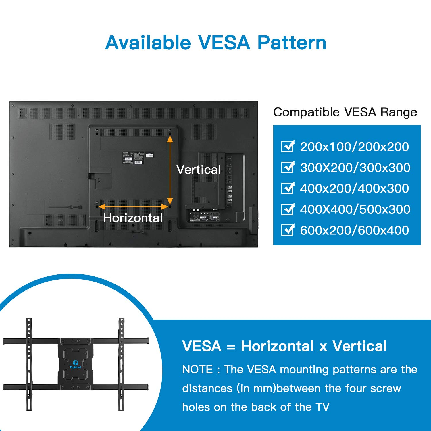 Full Motion TV Wall Mount Bracket Dual Articulating Arms Swivels Tilts Rotation for Most 37-70 Inch LED, LCD, OLED Flat&Curved TVs, Holds up to 132lbs, Max VESA 600x400mm by Pipishell by Pipishell (Image #4)