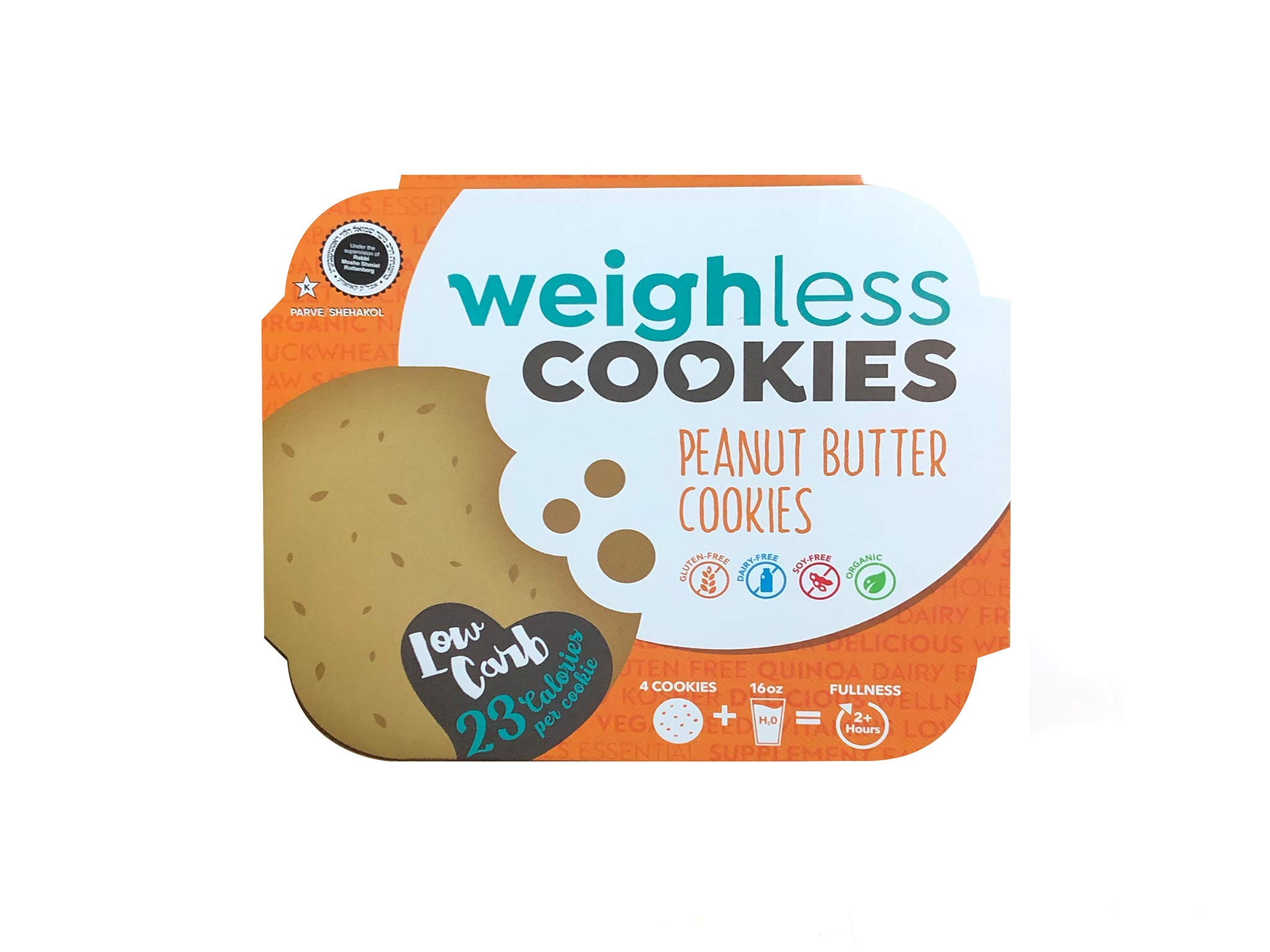 Weighless Cookies Gluten Free Low Carb Peanut Butter - 6 Pack case by Weighless Cookies
