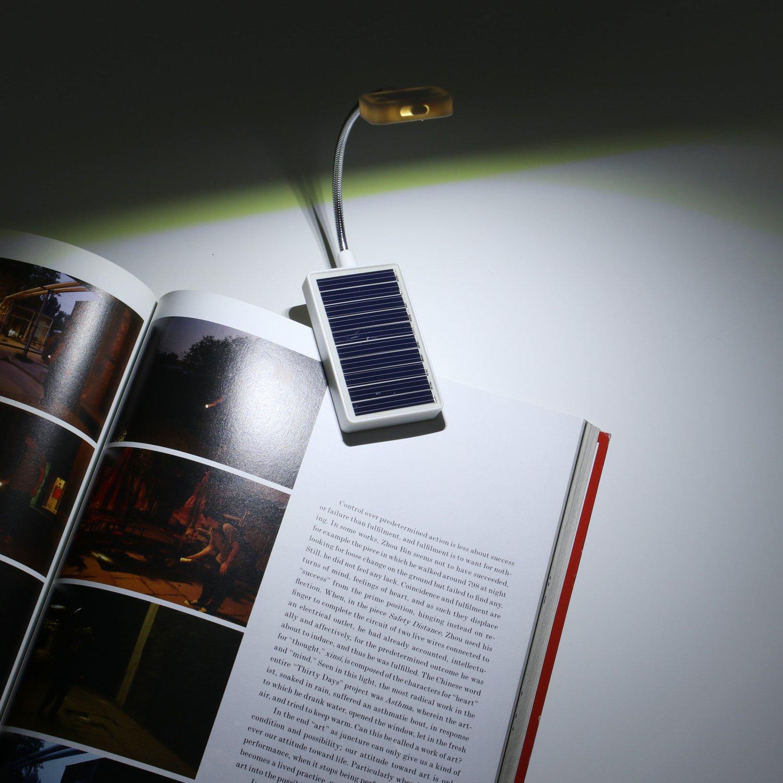 solar clip on book light glovion led reading light