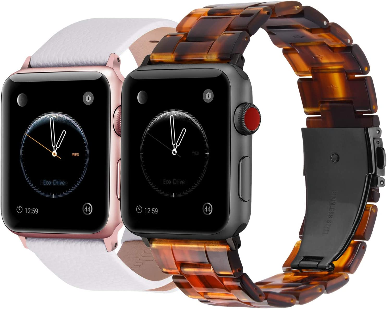 Fullmosa Compatible Apple Watch Leather Band 38mm 40mm White & Apple Watch Resin Band 38mm 40mm Dark Amber
