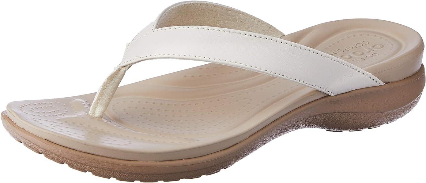 7190da80e Amazon.com | Crocs Women's Capri V Flip Flop, Oyster/Tumbleweed, 10 ...