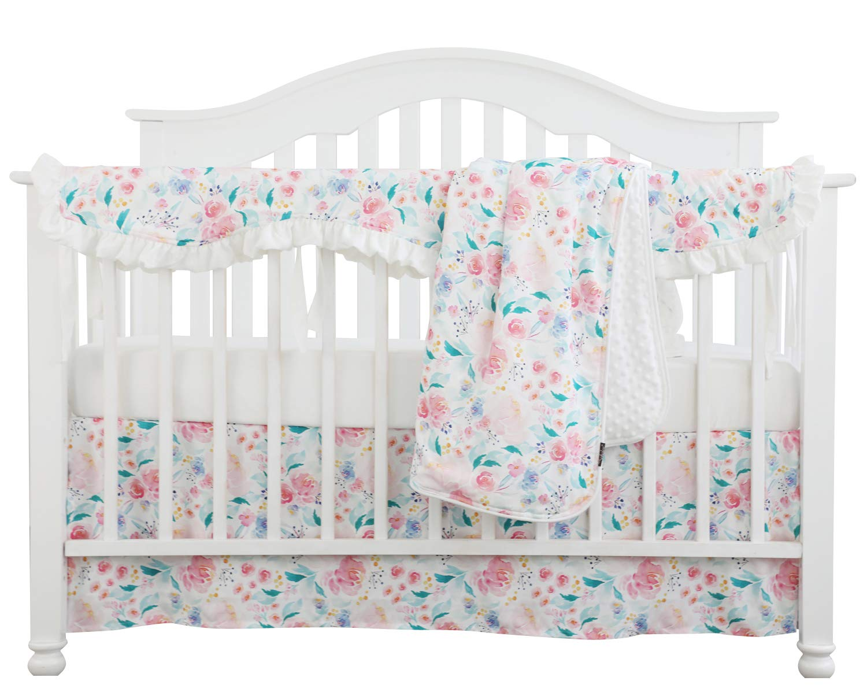 Crib Rail Guard Set Boho Floral Nursery Baby Bedding Ruffled Crib Skirt Crib Rail Cover Set (White Romantic Blooms Floral)
