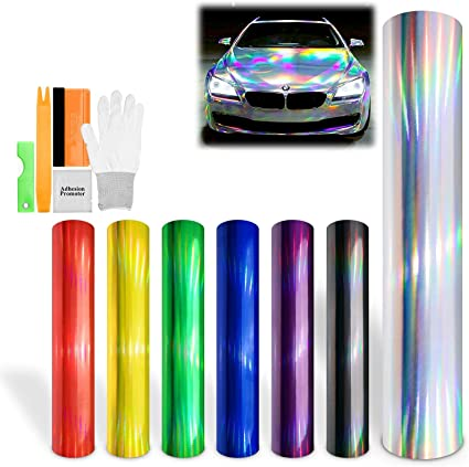 "*36/""x60/"" Holographic Red Rainbow Neo Chrome Car Vinyl Wrap Bubble Free Sticker"