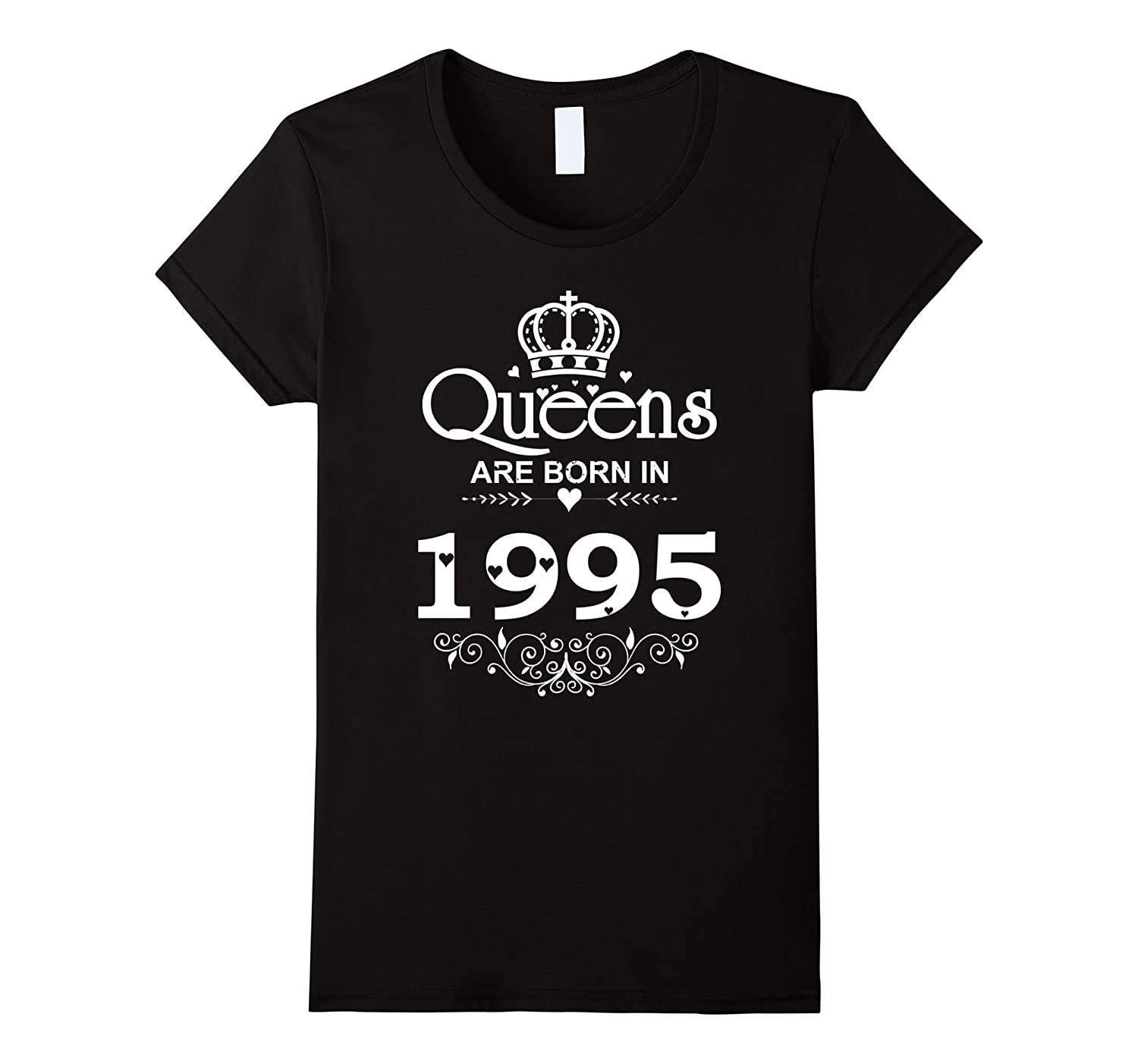 Womens Funny Queens Are Born In 1995 T-shirt 22th Birthday Gift Tee-Art