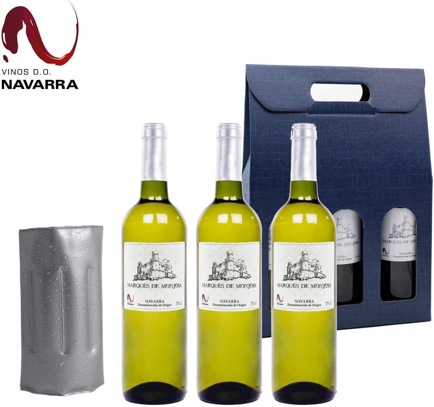Vino Blanco - Pack de 3 Botellas incluye Enfriador y Caja de ...