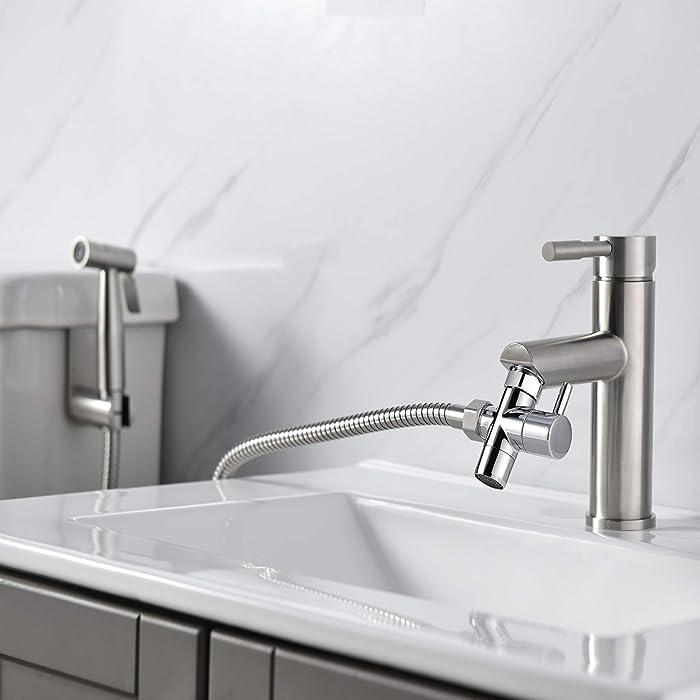 Purrfectzone Hot Cold Sink Faucet Diverter Valve-Handheld Handshower Bidet Shattaf Bathroom Sink Adapter-Hose Attachment Connector Diaper Sprayer for Water Distribution, Chrome