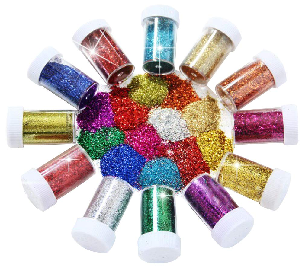 BTSD-home Glitter Powder Shakers, Extra Fine Glitter Set, Art and Crafts Supplies Loose Cosmetic Glitter, Great for Slime, Scrapbooking, Face, Body, Nail Art, Holiday Crafts, Assorted Colors(12 Pack) 4336855424