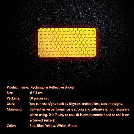 maiqiken 10pcs Cinta Reflectante Adhesiva Blanco Universal Coche Moto Bicicleta Pegatina Seguridad 60 x 30 mm