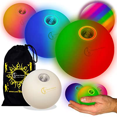 Flames N Games Pro LED Glow Juggling Balls 3X (Slow Fade Rainbow Effect) Ultra Bright Battery Powered Glow LED Juggling Ball Set with Travel Bag. (Set of 3): Toys & Games