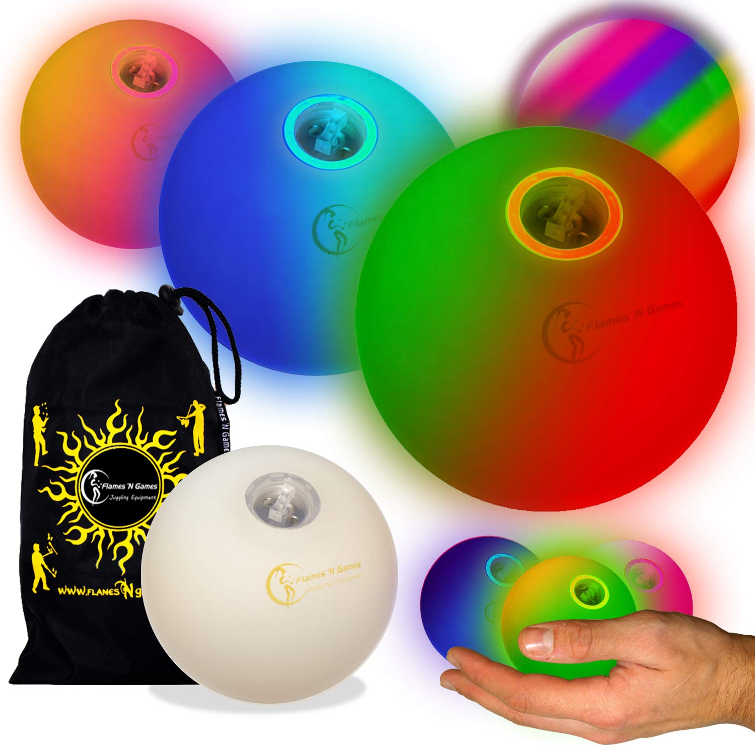 Flames N Games Pro LED Glow Juggling Balls 3X (Slow Fade Rainbow Effect) Ultra Bright Battery Powered Glow LED Juggling Ball Set with Travel Bag. (Set of 3) by Flames N Games Juggling Ball Sets