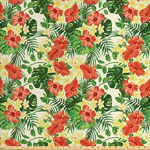 - Ambesonne Tropical Fabric by The Yard, Exotic Pattern with Plumeria Hibiscus Monstera Palm Flowers and Leaves, Decorative Fabric for Upholstery and Home Accents, Red Light Yellow Green