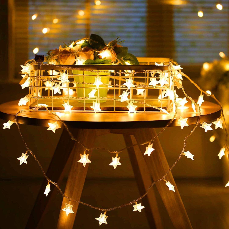 SUNNEST Guirnalda Luces Pilas, Luces LED Pilas, Guirnalda Luces Interior Habitacion 5m 50 LED de Alambre Guirnaldas Decoracion Cobre para Decoración Interior Bodas Fiesta de Navidad