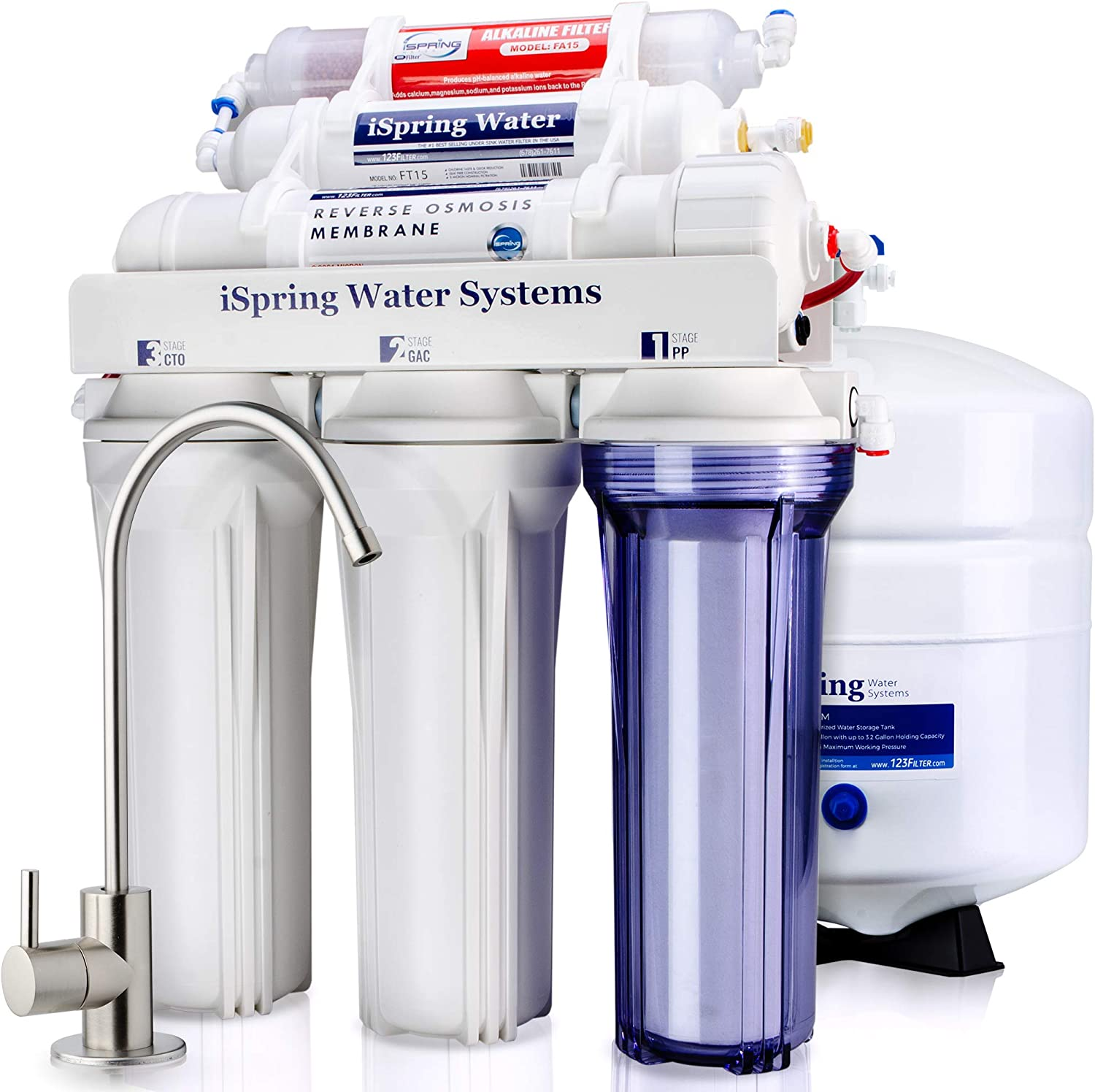 iSpring High Capacity Under Sink Reverse Osmosis Drinking Water Filter System Image