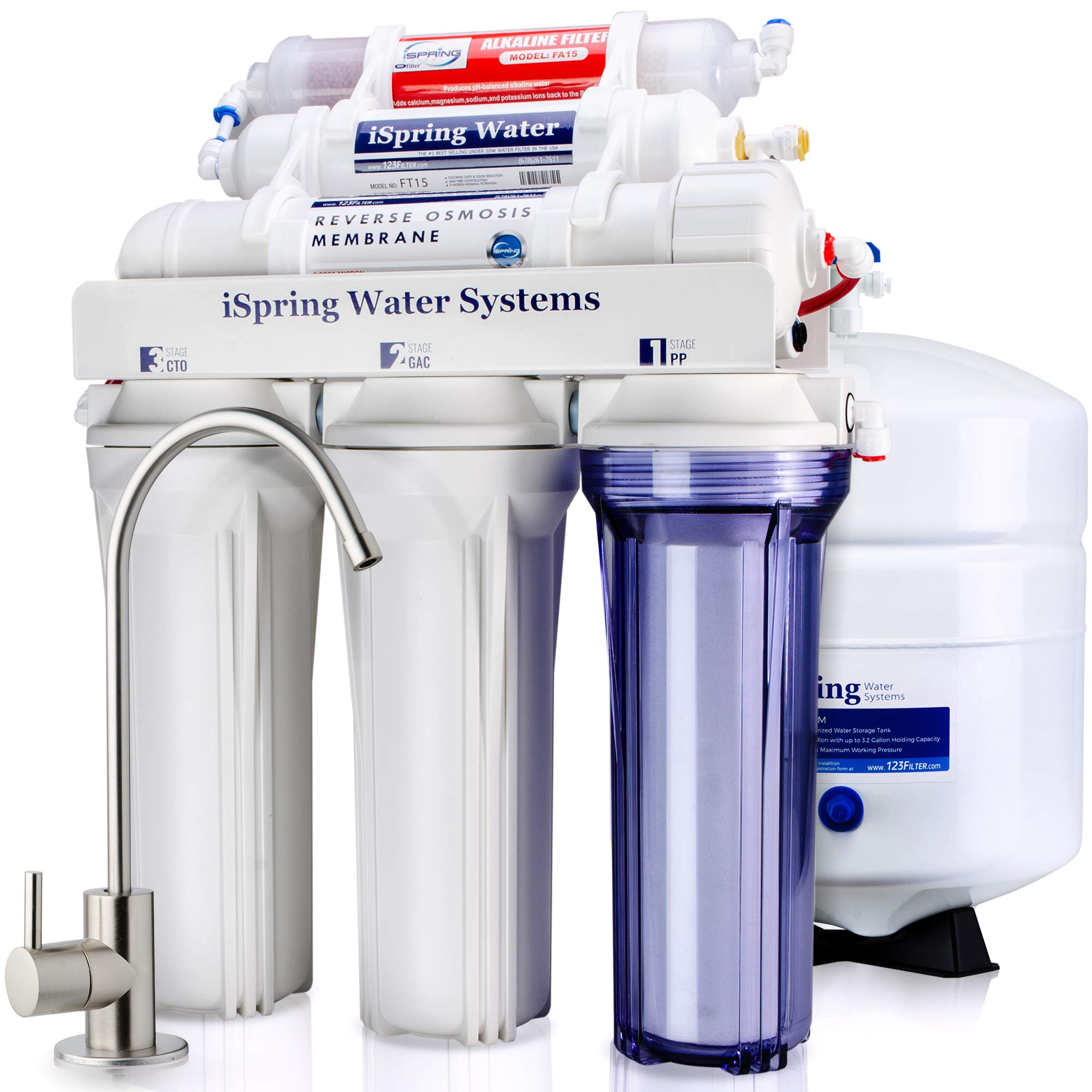 iSpring RCC7AK 6-Stage Superb Taste High Capacity Under Under Sink Reverse Osmosis Drinking Water Filter System with Alkaline Remineralization - Natural pH, White by iSpring