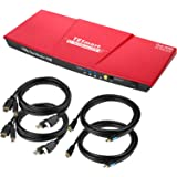 TESmart Dual HDMI 4x2 Dual Monitor KVM Switch 2 Port Updated 4K @ 60Hz, Support HDCP 2.2(Red)