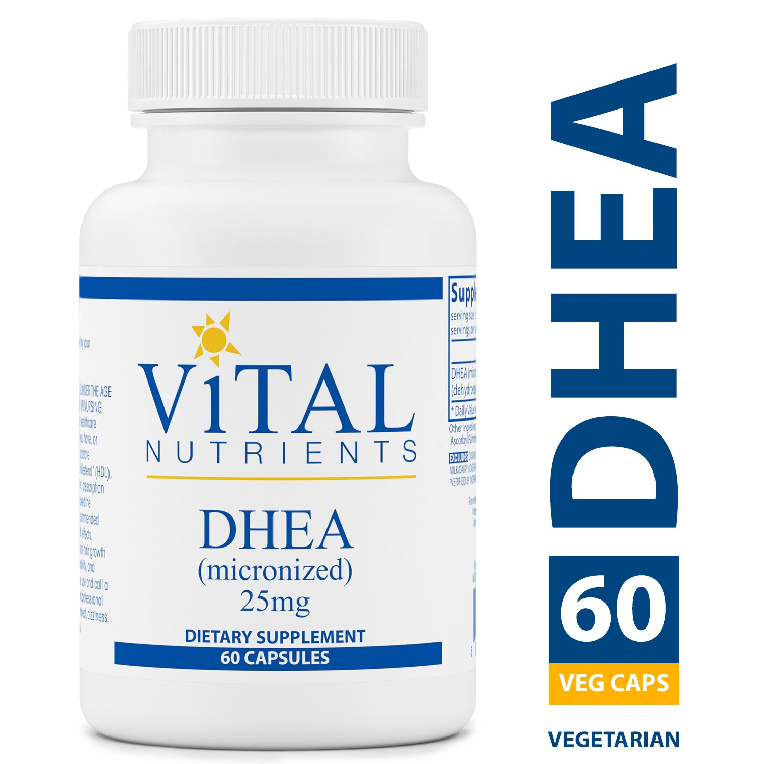 Vital Nutrients - DHEA (Micronized) 25 mg - Supports Metabolism, Hormone Levels and Energy Levels - 60 Vegetarian Capsules per Bottle