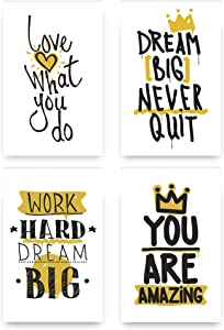 Set of 4 Inspirational Wall Art Decor - Unique Motivational Posters - Inspire Success Prints - Perfect Canvas for Bedrooms, Dorms, Living-Rooms, Classrooms with Quotes - Happiness Decoration for Home