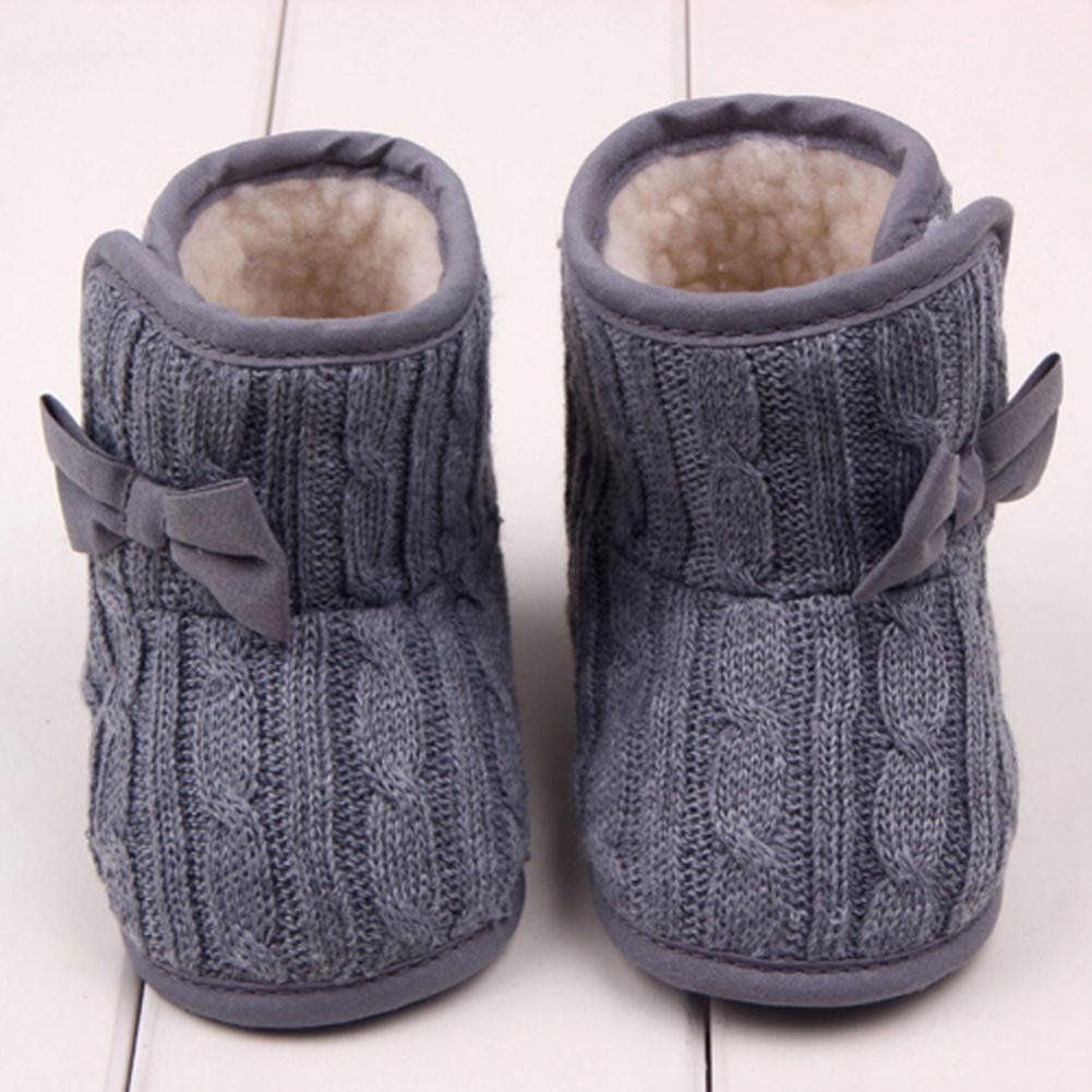 WARMSHOP Baby Solid Color Bowknot Soft Sole Winter Warm Hook /& Loop Shoes Boots