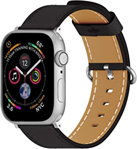 ARTCHE Leather Watch Band for Apple Watch 40mm 38mm Casual Replacement Strap Cool Wristband Belt, Compatible with iWatch Series SE, 6, 5, 4, 3, 2, 1, with Quick Relase Buckle, Black