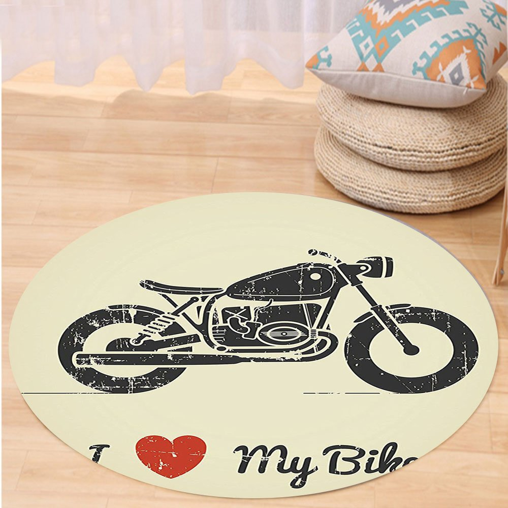VROSELV Custom carpetManly Decor Vintage Flat Looking Motorcycle And Love My Bike Text Silhouette Art Bedroom Living Room Dorm Decor Round 79 inches