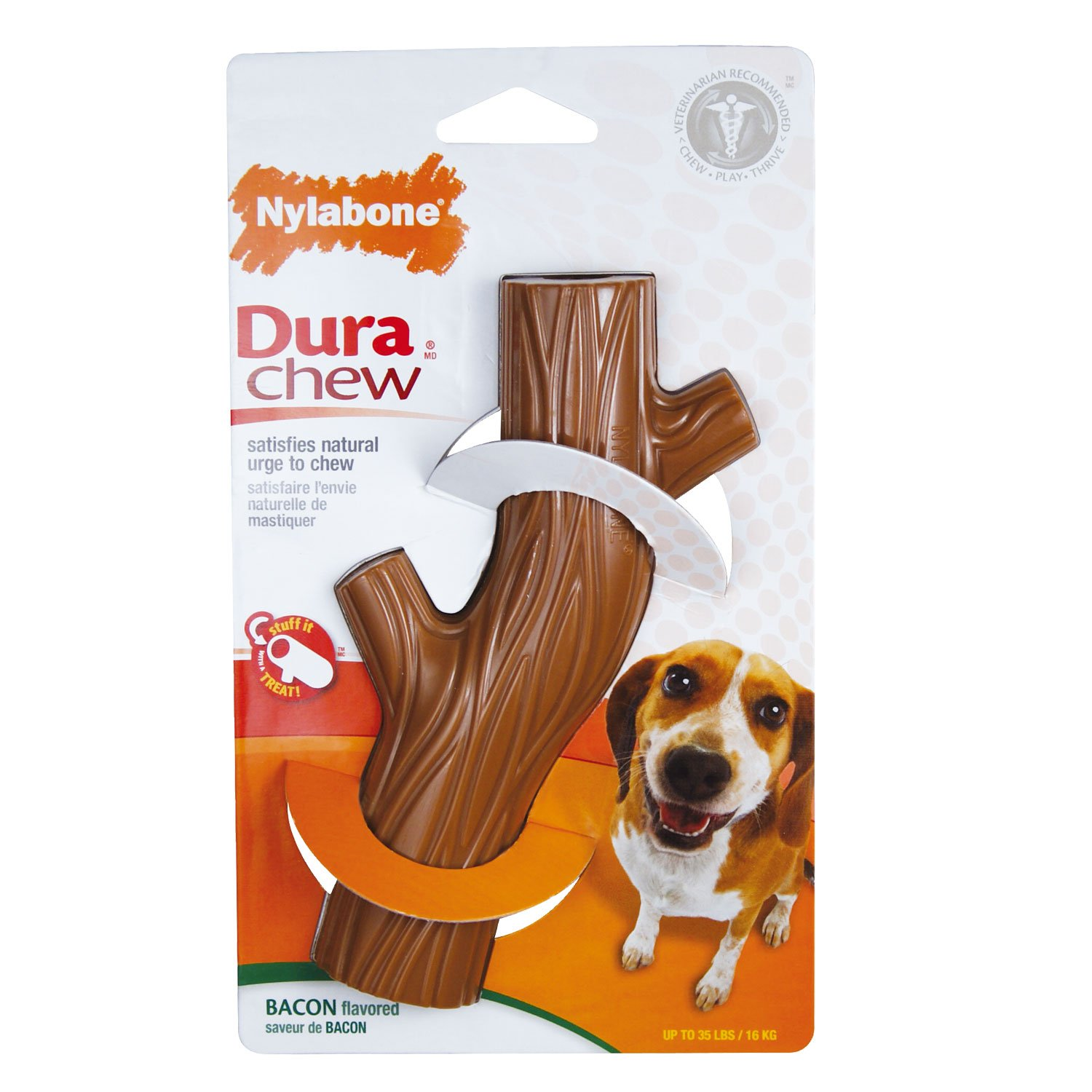 Nylabone Dura Chew Souper Bacon Flavored Hollow Stick Bone Dog Chew Toy