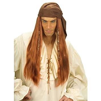 Hombre peluca Jack de pirata con pañuelo pirata peluca Señor como accesorio Disfraz Peluca Disfraz Peluca