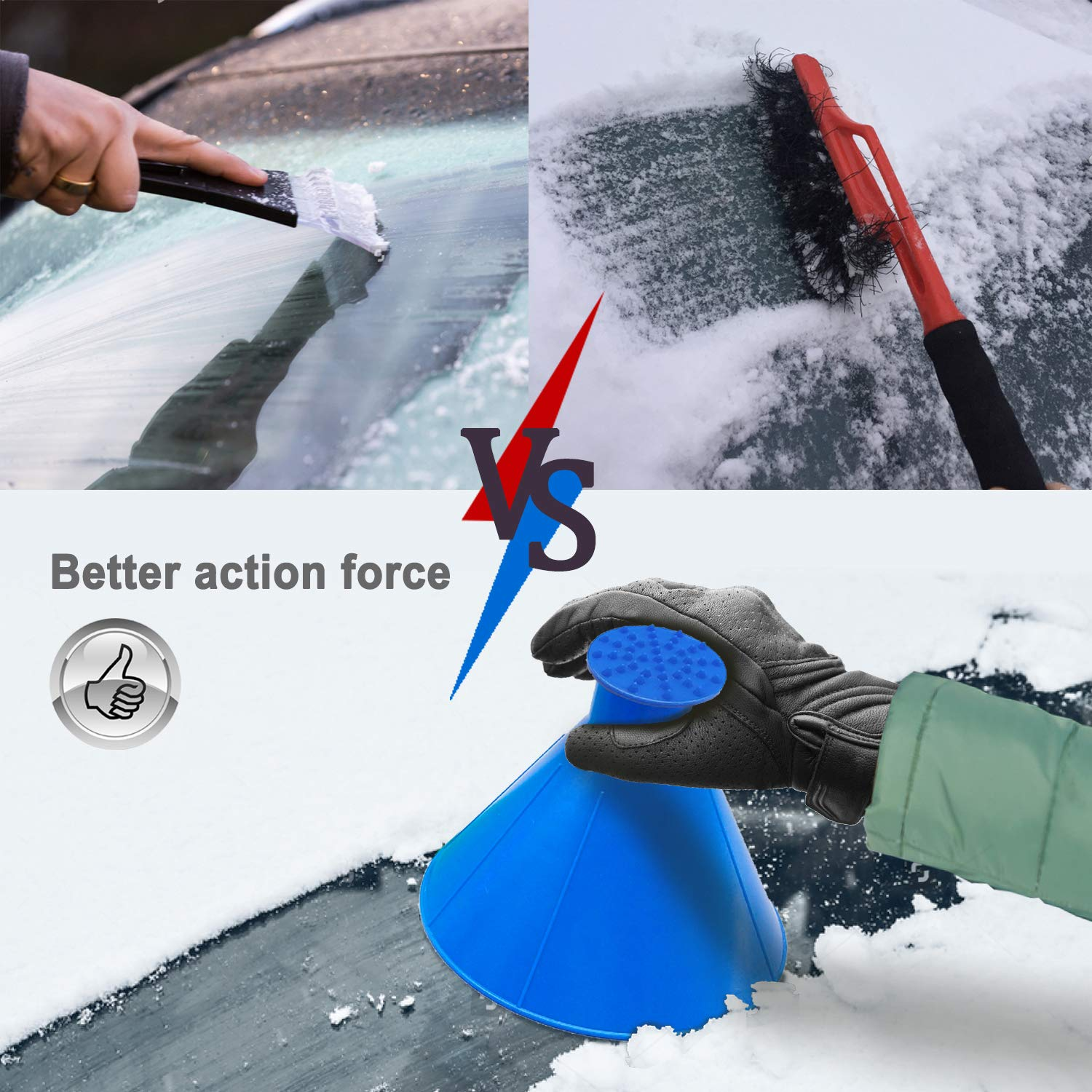 Cone-Shaped Snow Remover Funnel with 4 Ice Breakers Round Ice Scrapers for Car Windshield MAKHISTORY Magical Car Ice Scraper 4Pack