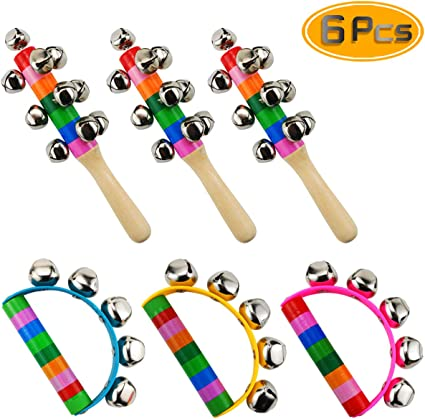 Cute Rainbow 10 Bell Wooden Stick Baby Toy Pram Crib Handle Shaker Jingle Rattle