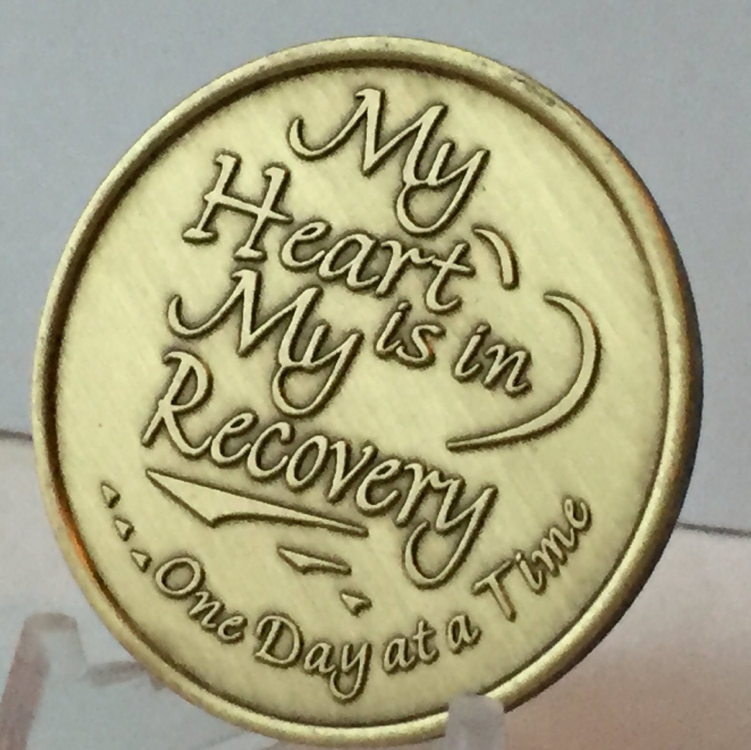 My Heart Is In Recovery Bulk Lot of 25 Medallions Bronze One Day At A Time Chips by wendells (Image #3)
