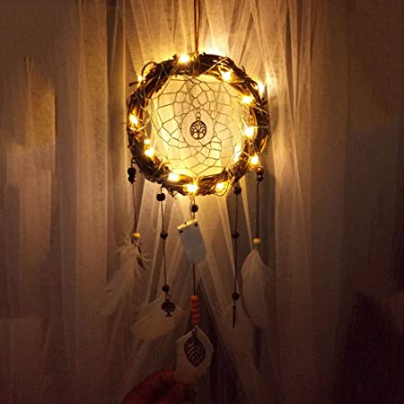Homvik Atrapasue/ños con Pluma Natural Cazador de Sue/ños Hecha a Mano Adorno Colgante Pared Dream Catcher con LED luz Decoraci/ón Colgante Pared Artesan/ía Colgante