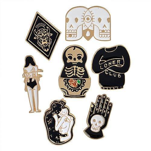 Skull Lapel Pin Badge Pin 5pcs Apparel Sewing & Fabric Badges