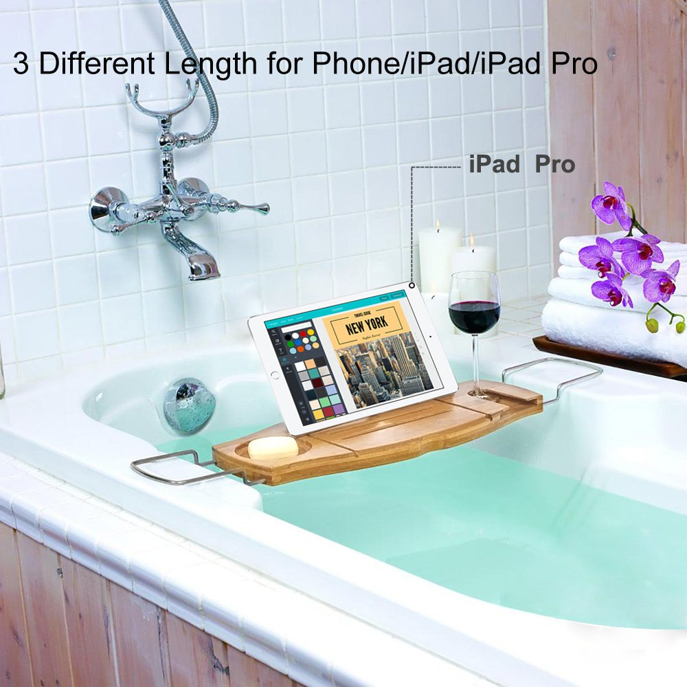 TopHomer Bathtub Rack Bamboo Bathtub Caddy Extendable Storage with ...