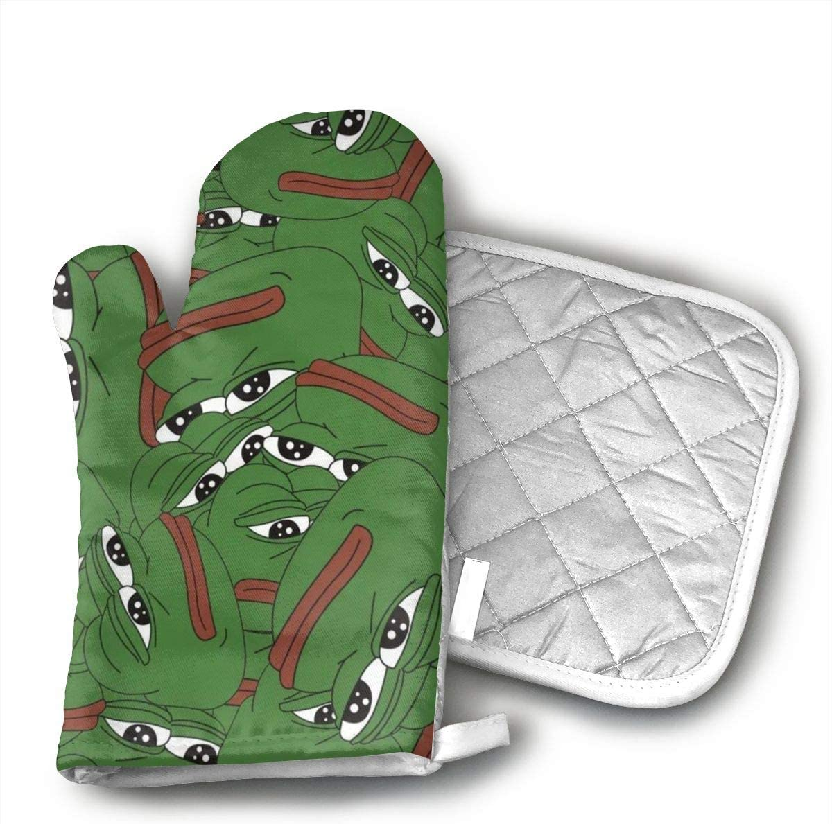 LAIEHG Pepe The Sad Frog Oven Mitts and Pot Covers 100% Cotton