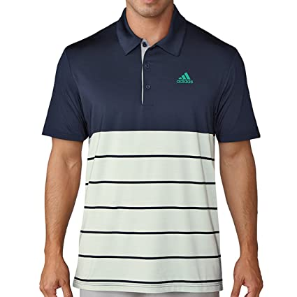 49c920ce4c0 adidas Golf 2018 Ultimate 365 Heather Stripe Mens Golf Polo Shirt  Collegiate Navy Aero Green