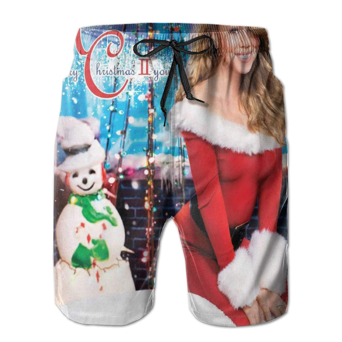 ElizabethLFlores Mariah Carey Mans Beach Shorts Gifts Drawstring Surf Shorts