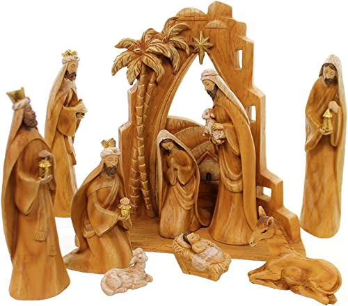 Roman 31378 9pc SET 12 Carved Nativity with Scene Back Drop, Faux Wood Grain