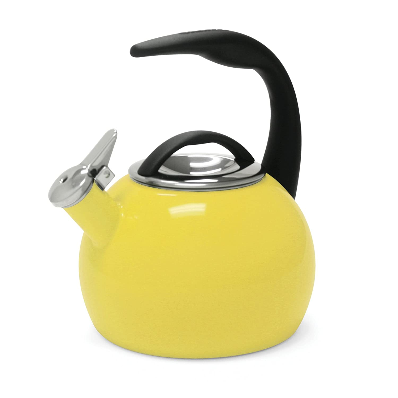 Chantal 40th Anniversary 2-Quart Enamel on Steel Teakettle, Canary Yellow