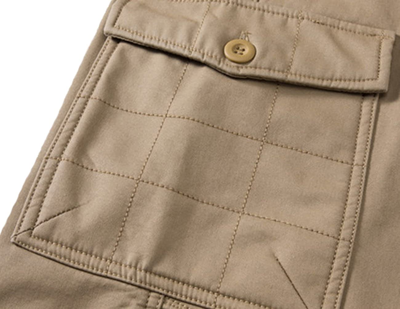 Donzev Mens Warm Fleece Lined Multi-Pockets Cargo Pants Trousers