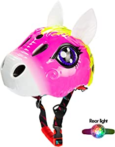 Natuway Toddler Kids Dinosaur Bike Helmet 2-6yr Boy Girl with Taillight Fun Bicycle Skate Helmet