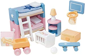 Le Toy Van - Sugarplum Children's Bedroom | Wooden Dolls House Accessories Play Set For Dolls Houses | Doll House Furniture Sets - Suitable For Ages 3+ (ME054)