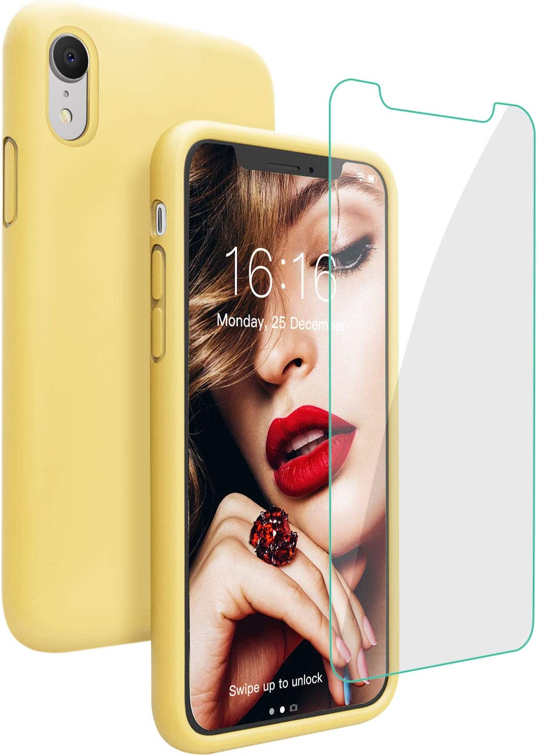 JASBON Case for iPhone XR, Soft Liquid Silicone iPhone XR Case with Tempered Glass Cover for iPhone XR-Yellow