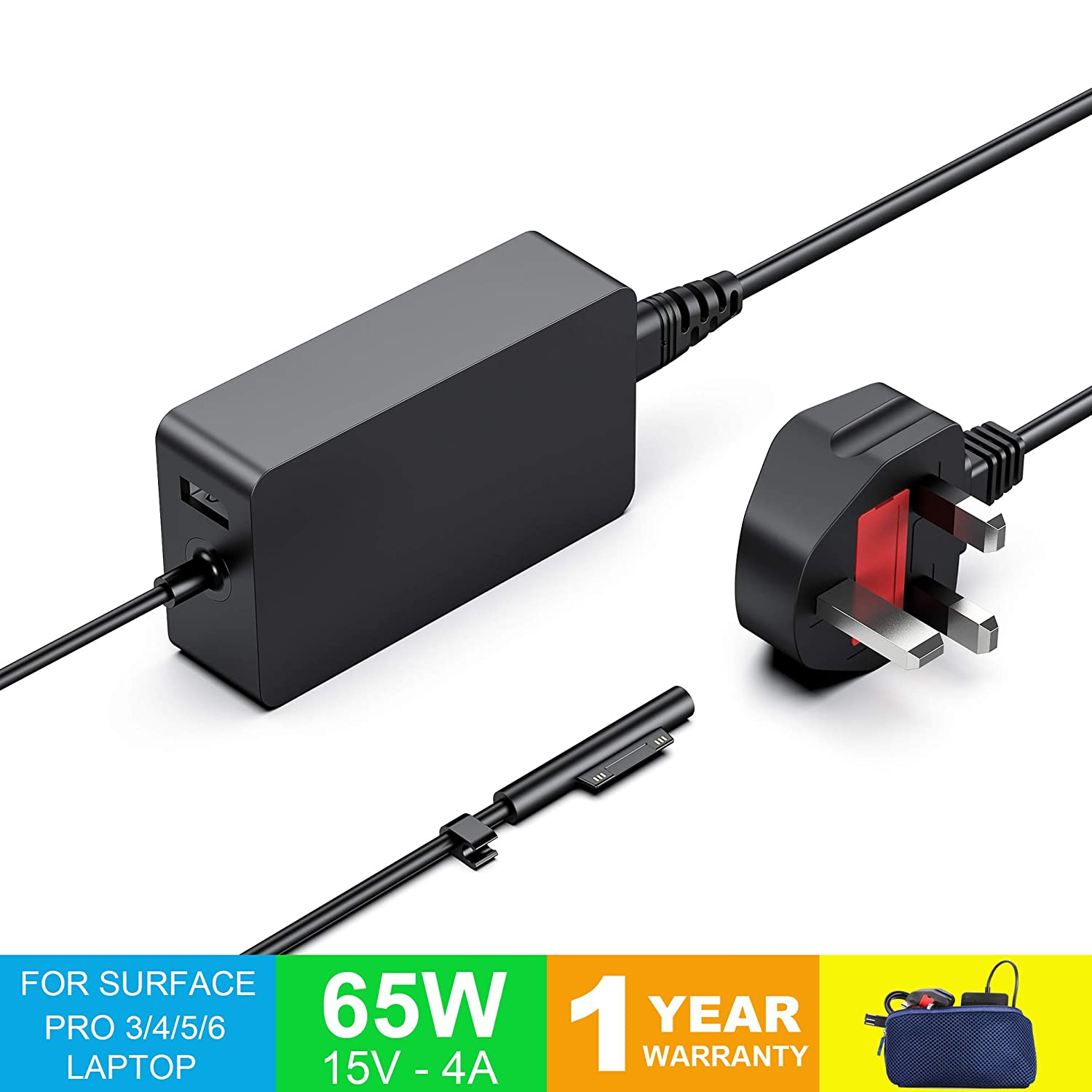 Surface Book 1 /& 2 Surface Pro 3//4// 5 /& 6 Charger Surface Pro Charger Surface Laptop /& Surface Go Charger 15V 4A 65W Power Supply Adapter Compatible for Both Microsoft Windows Laptop//Tablet