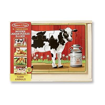 Melissa & Doug Wooden Jigsaw Puzzles in a Box - Farm: Melissa & Doug: Toys & Games
