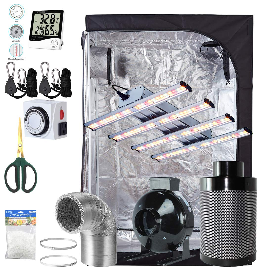 BloomGrow 1200W LED Full Spectrum Professional Grow Light Strips 48 x24 x72 600D Mylar Grow Tent Room 6 Inline Fan Air Carbon Filter Ventilation System Indoor Plant Grow Tent Complete Kit