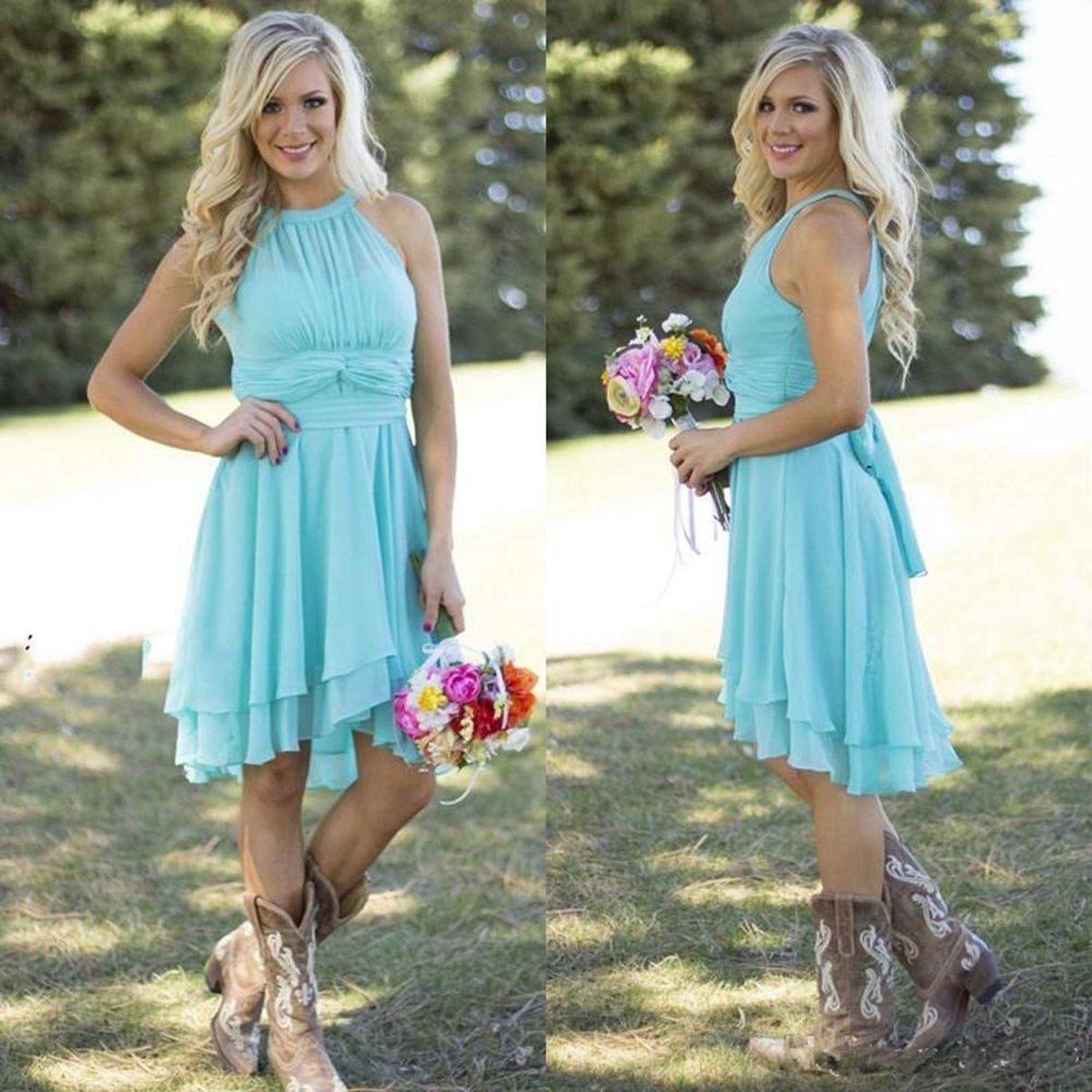 Meledy Women\'s Knee Length Country Bridesmaid Dress Western Wedding ...