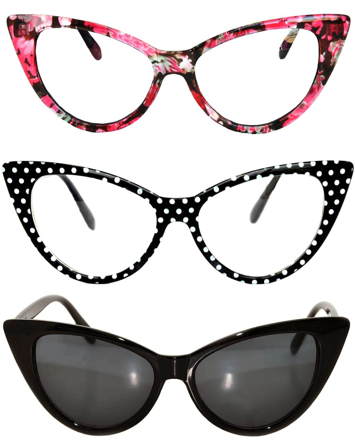3 pairs Cat Eye Sunglasses Plastic Frame Black Polka Dots Floral frames by OWL (Image #1)