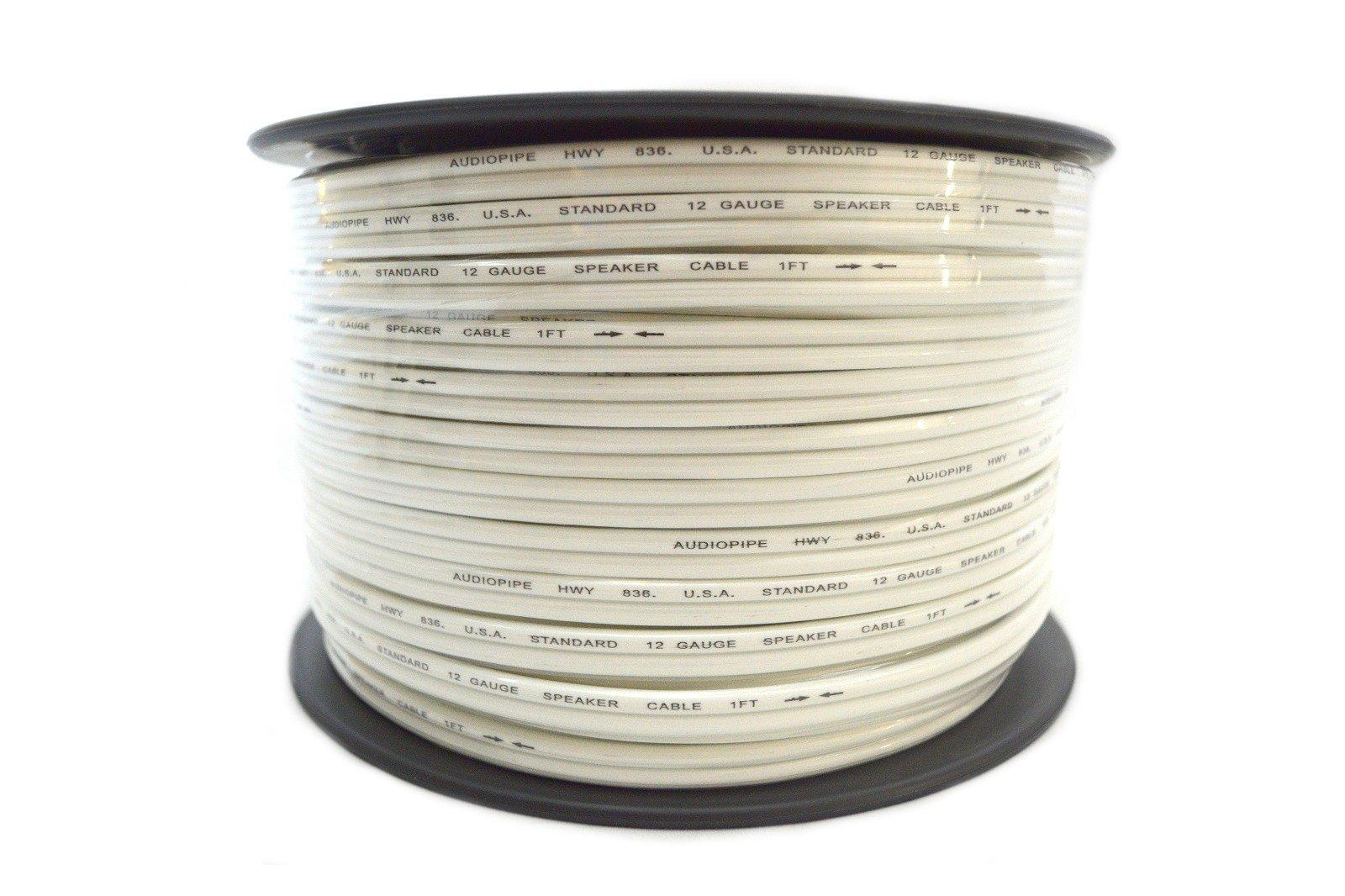 Audiopipe 12 Ga Gauge 250' White Speaker Wire Home Theater Car Audio Stereo by Audiopipe