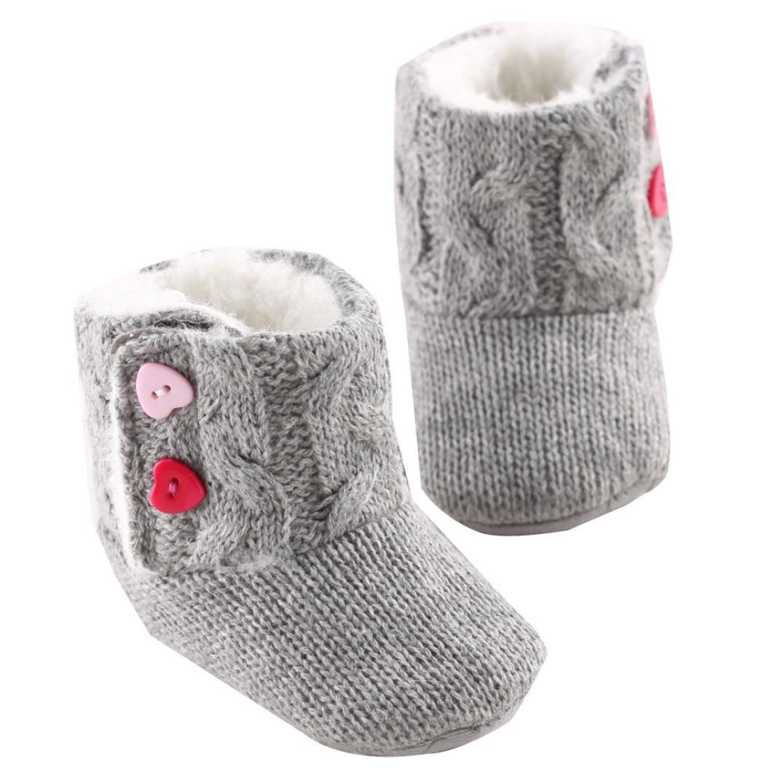 Yogogo - Chaussures bébé - Filles douce Sole Berceau Flats Bouton chaud - Bottes en coton - Toddler Prewalker Yogogo_001