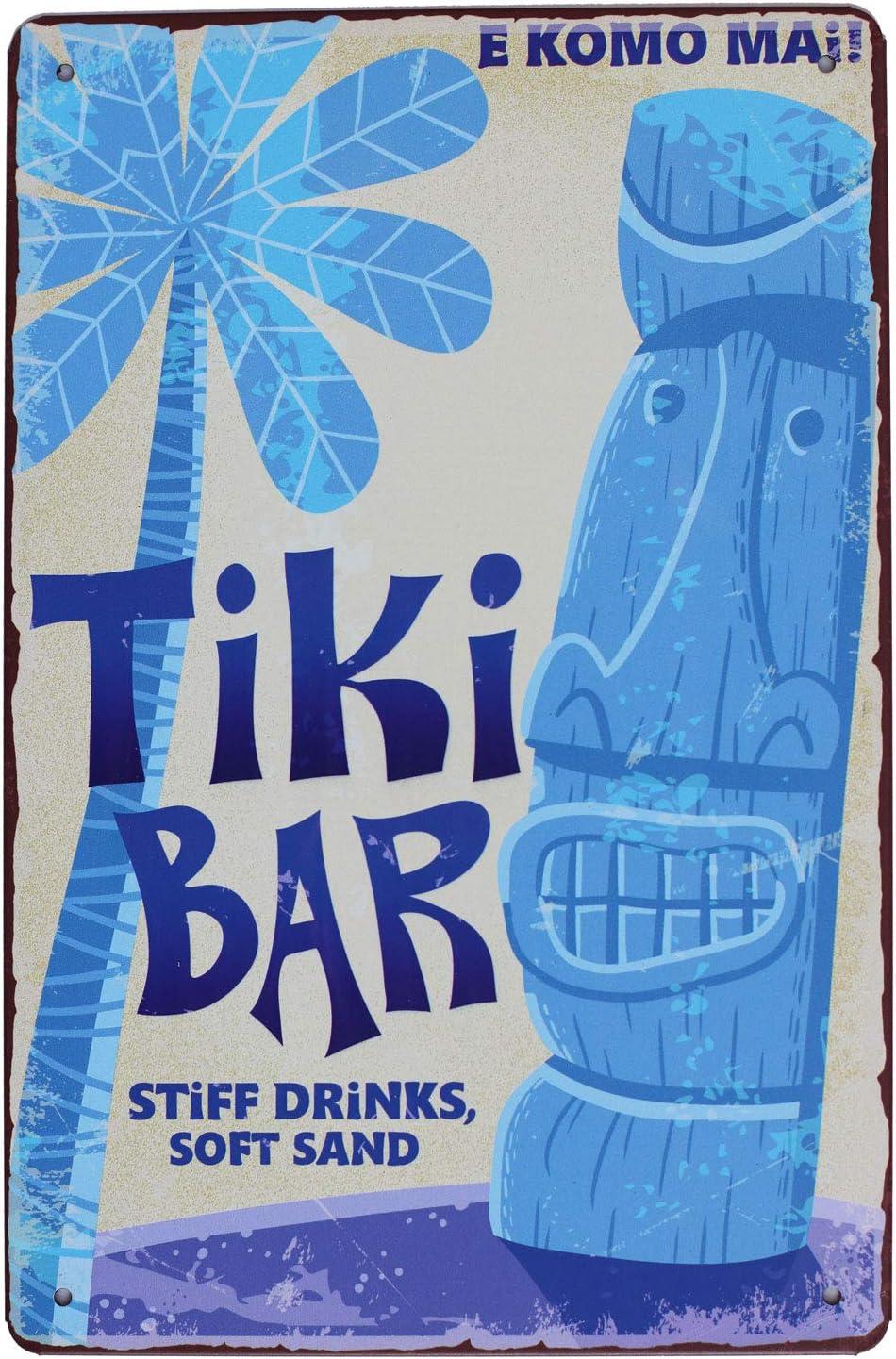 SUMIK Tiki BAR Stiff Drinks Soft Sand Art Poster Vintage Metal Sign Retro Wall Decor